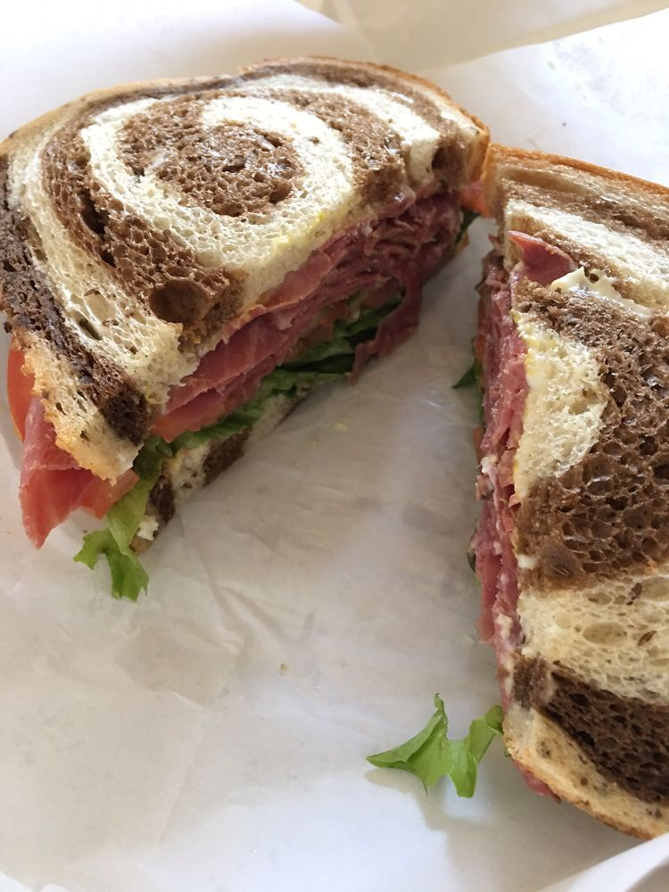 pastrami on marbled rye - Takeout From Domenico's Deli & Cafe - pic by kari c. on yelp