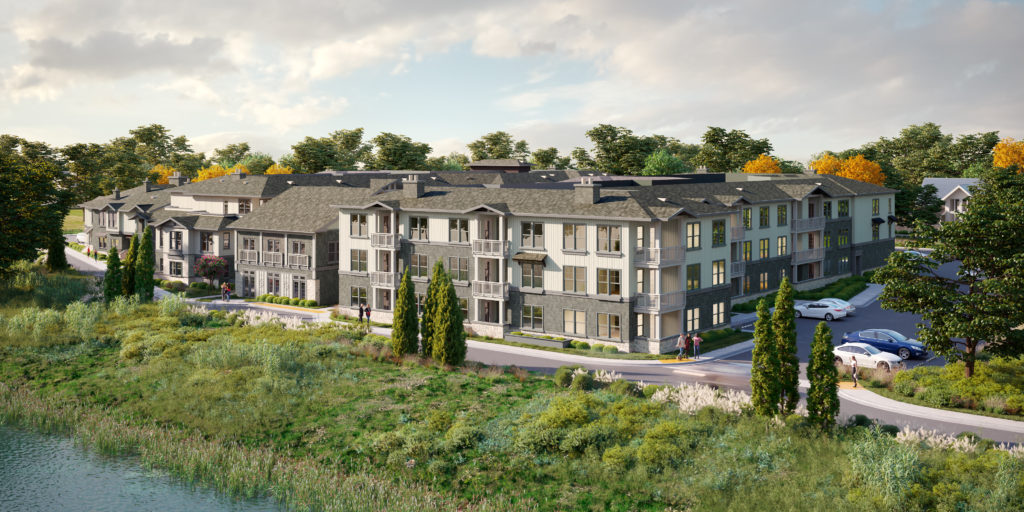 Apartment community exterior including greenspace at Alexan Downtown Danville - Settle into Pure Bliss