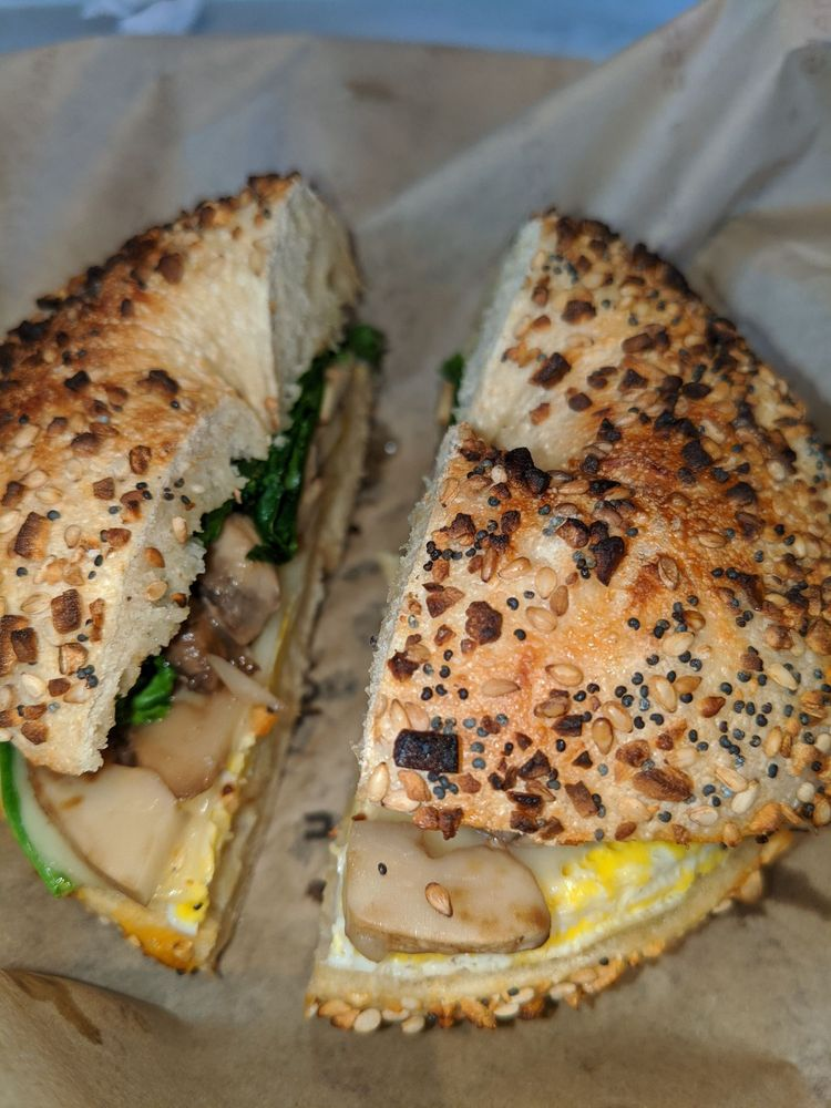 mushroom, Swiss, spinach, egg on an everything bagel - Noah's NY Bagels near Alexan Downtown Danville - pic by Goku U. on Yelp