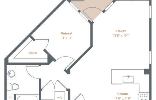 A6 one bed/one bath floorplan - Danville Luxury One-Bedroom