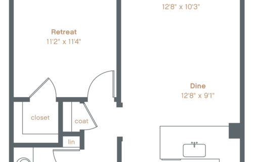 A7 Luxury Apartment Floorplan - One-Bedroom at Alexan Downtown Danville
